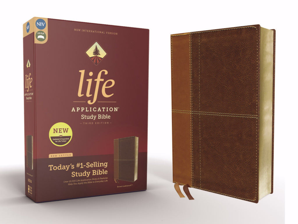NIV Life Application Study Bible (Third Edition)-Tan-Brown Leathersoft