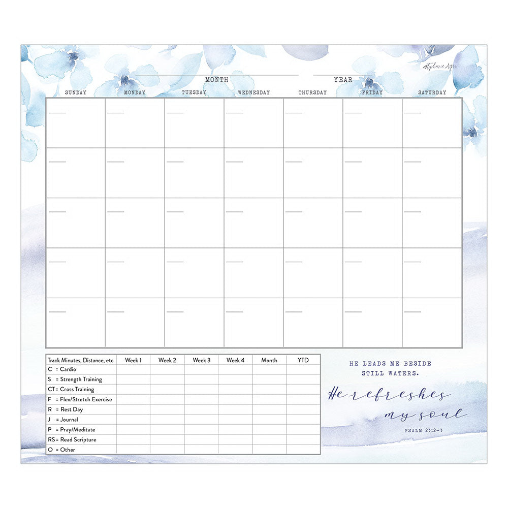 "Healthy Habits Planner-He Leads Me (9-3-8"" x 8-3-8"")"