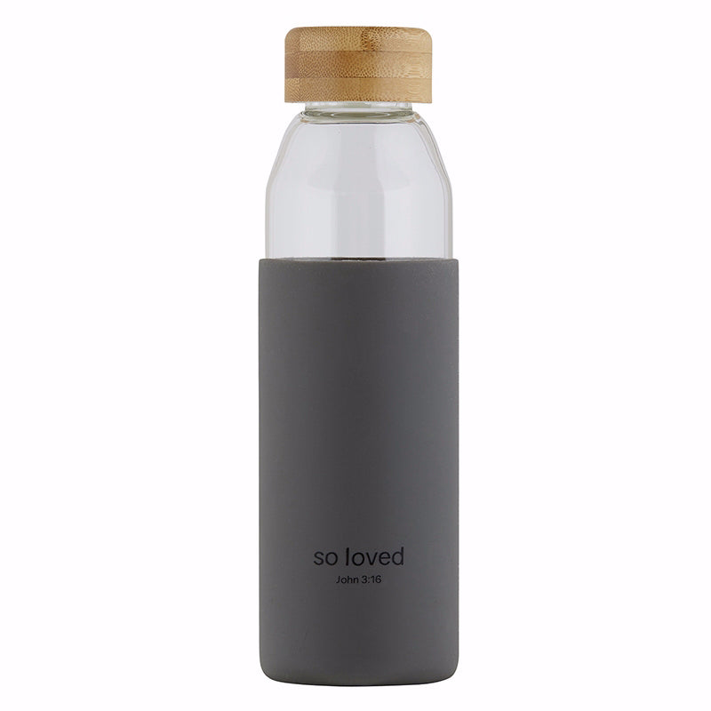 Water Bottle-w-Bamboo Lid-So Loved (18 Oz)