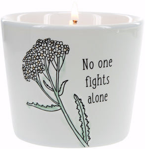 Candle-No One Fights Alone-Soy Candle In Stoneware-Tranquility Scent (8 Oz)