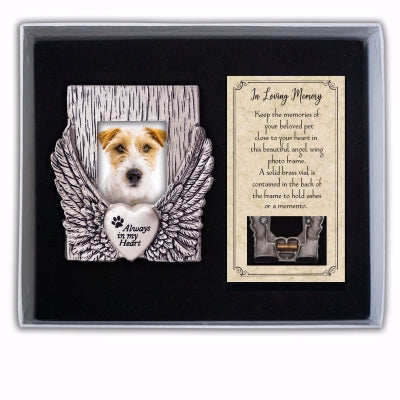 "Frame-Pet Memorial-W-Card-Always In My Heart Wing-Gift Boxed (Holds 1.5"" x 2"" Photo)"