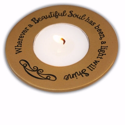 Memorial Tealight Holder-Beautiful Life-Gold