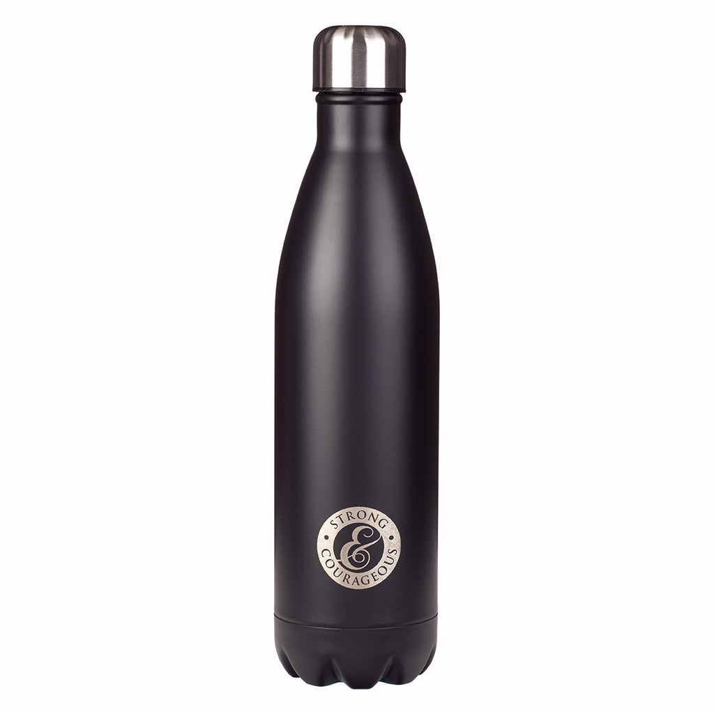 Water Bottle-Strong & Courageous-Black (25 Oz)