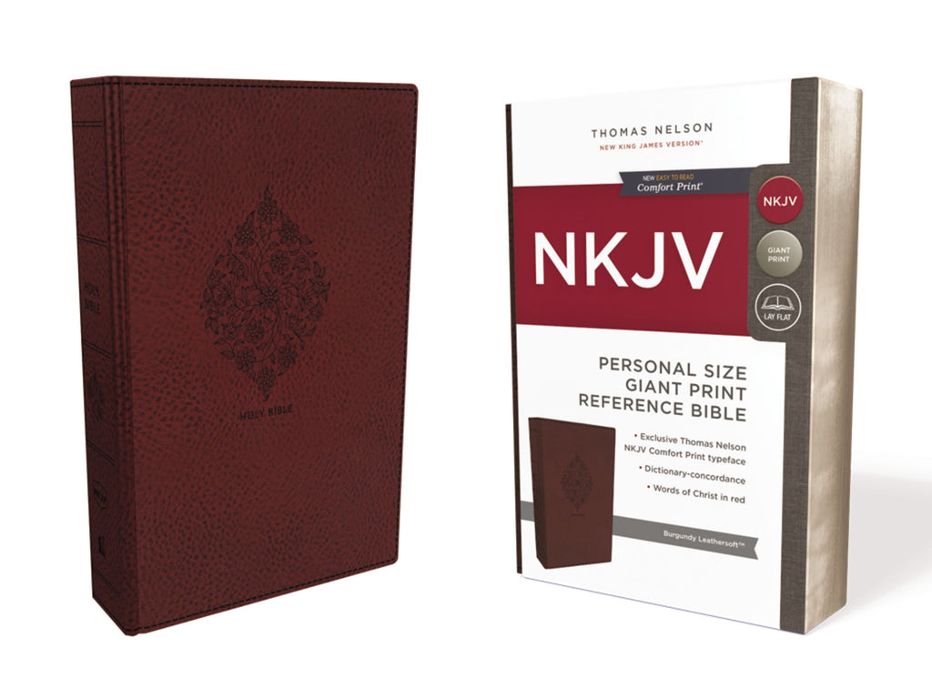 NKJV Personal Size Giant Print Reference Bible (Comfort Print)-Burgundy Leathersoft