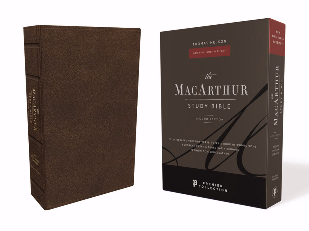 NKJV MacArthur Study Bible (2nd Edition) (Comfort Print)-Brown Premium Leather