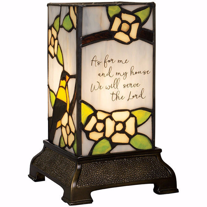 "Stained Glass Memorial Lamp-Serve The Lord (6"")"