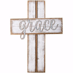 "Wall Cross-Grace-Rustic (14"")"