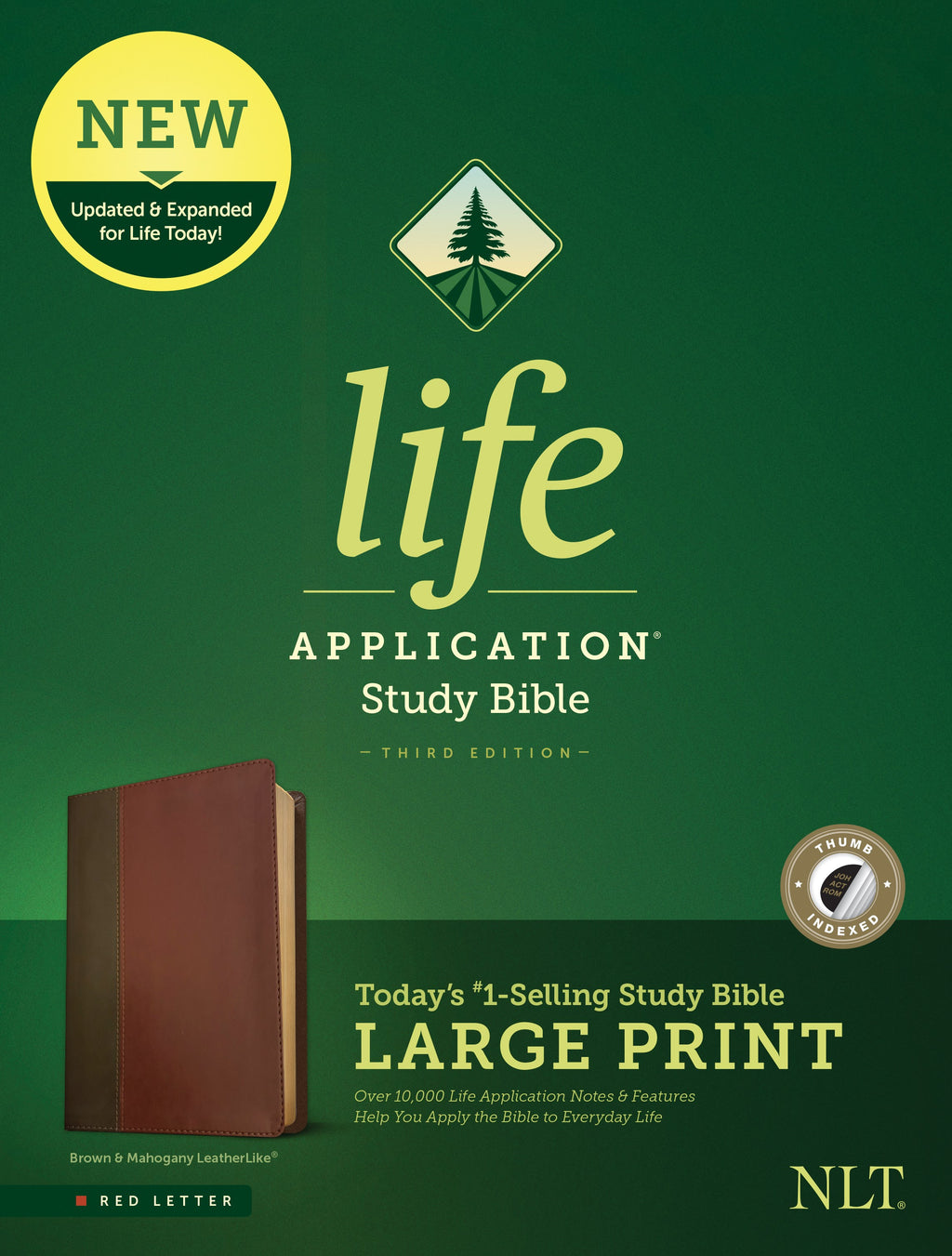 NLT Life Application Study Bible-Large Print (Third Edition) (RL)-Brown-Tan LeatherLike Indexed
