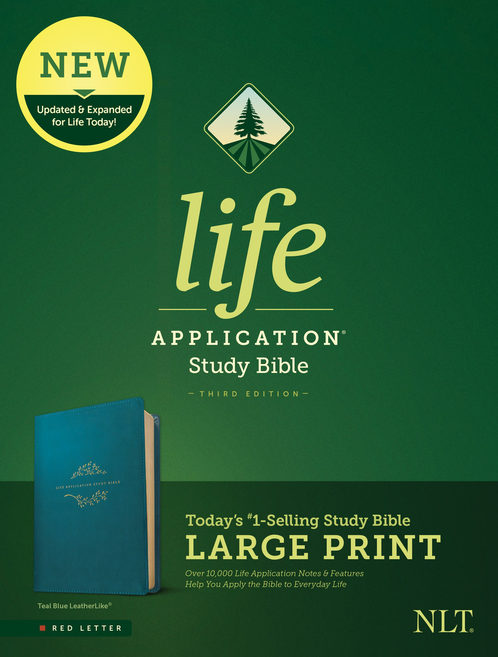 NLT Life Application Study Bible-Large Print (Third Edition) (RL)-Teal Blue LeatherLike