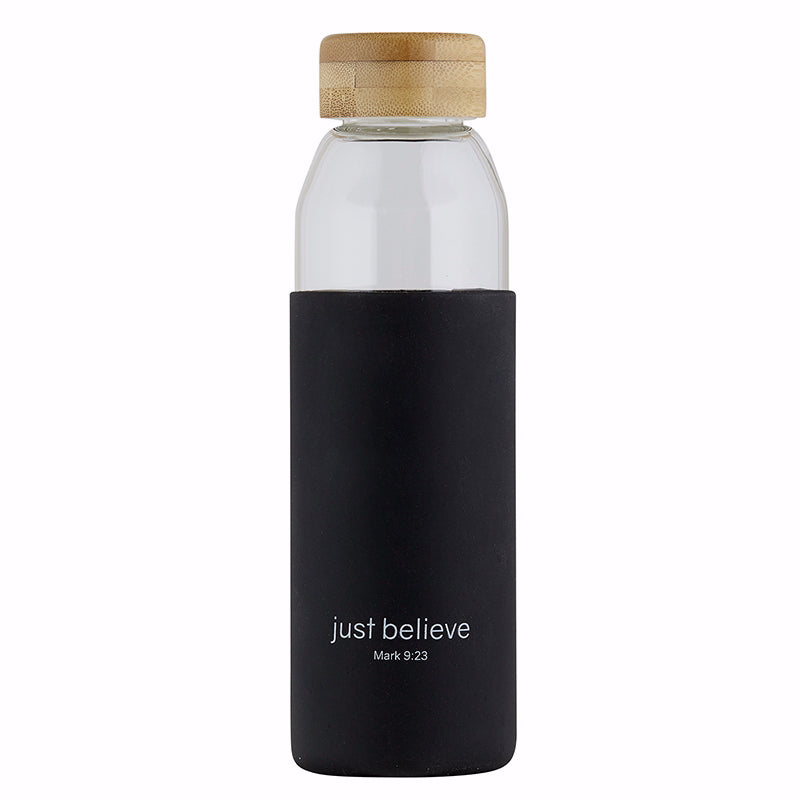 Water Bottle-w-Bamboo Lid-Just Believe (18 Oz)