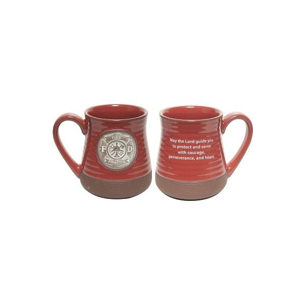 Mug-Pottery-Firefighter Prayer-Red