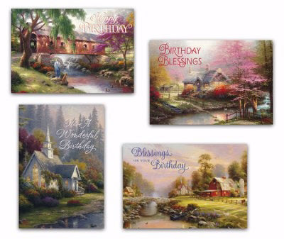 Card-Boxed-Birthday-Thomas Kinkade-Birthday Blessings (Box Of 12)