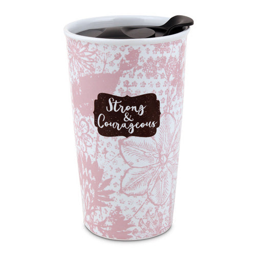 Tumbler Mug-Pretty Prints-Strong & Courageous (#15065)