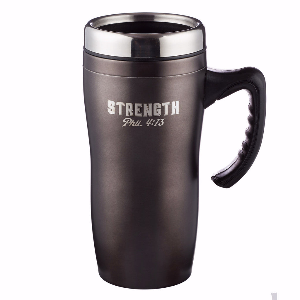 Travel Mug-Strength w-Handle (Stainless-Black)