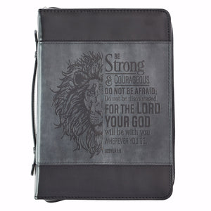 Bible Cover-Classic LuxLeather-Be Strong-Large-Gray