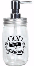 Soap Dispenser-Mason-God Bless The Farmer (16 Oz)