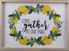 Wall Sign-Come Gather w-Lemons-Wood Frame (19.25 x 13.75)