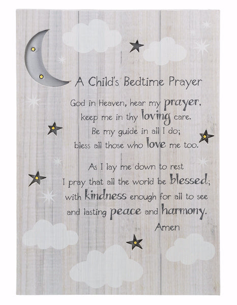 Wall Box Plaque-Child's Bedtime Prayer w-LED Lights (10 x 14)