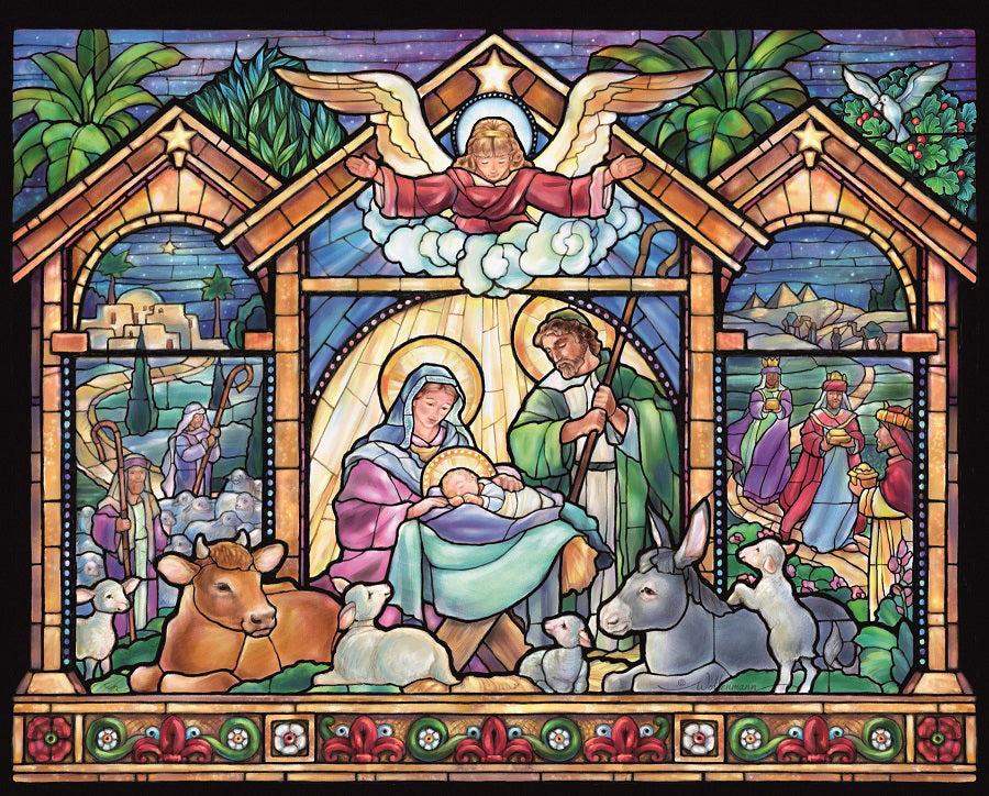 Jigsaw Puzzle-Stained Glass Nativity (1000 Pieces)