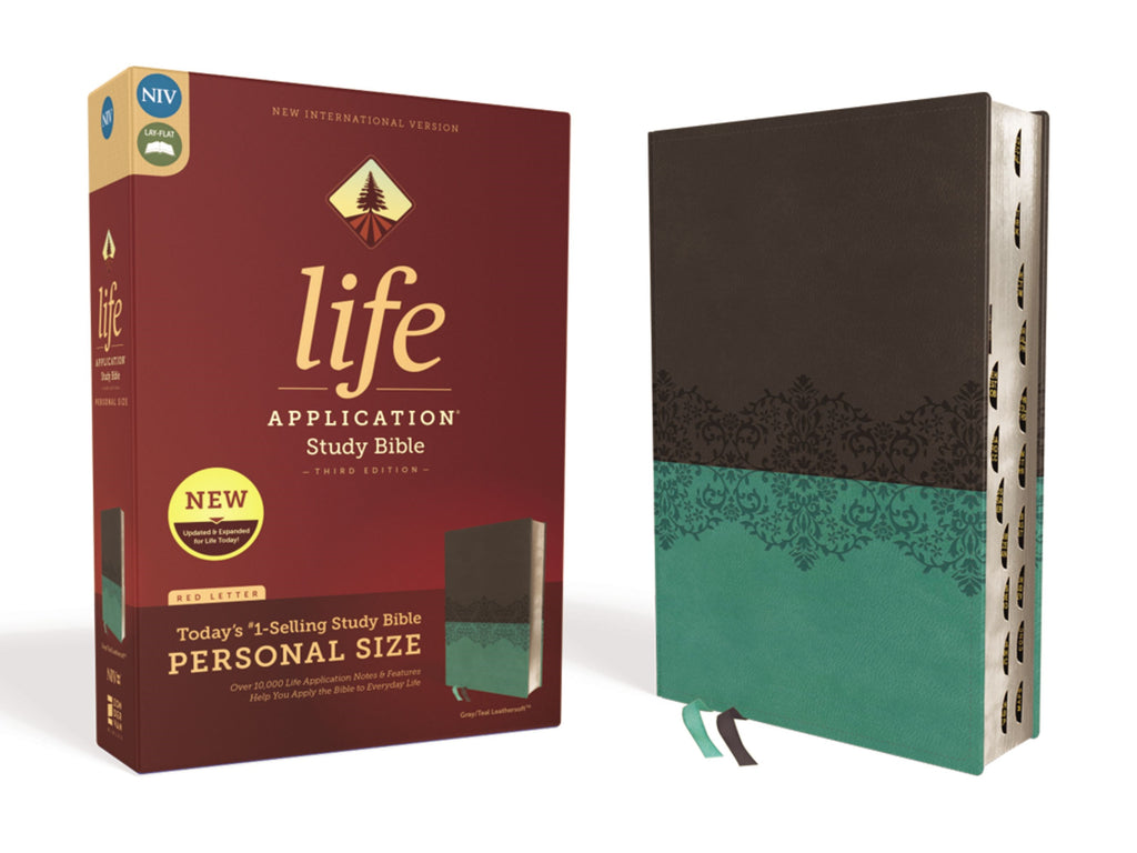 NIV Life Application Study Bible-Personal Size (Third Edition)-Gray-Teal Leathersoft Indexed