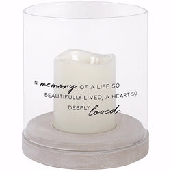 "Hurricane Candle-Flameless Flicker-Beautifully Lived w-Timer (7"" x 6"")"