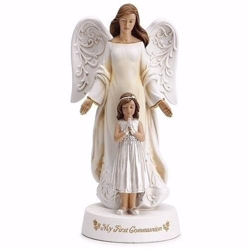 "Figurine-Communion-Angel w-Girl (7.75"")"