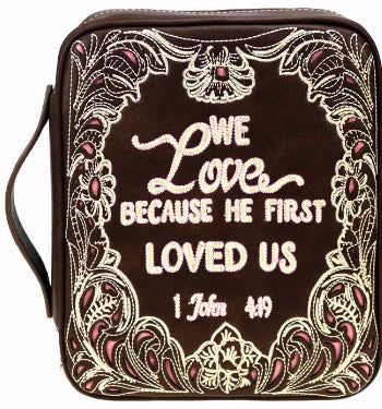 Bible Cover-We Love Because He First Loved Us-Coffee
