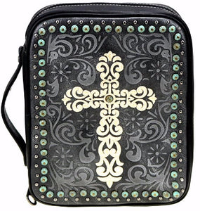 Bible Cover-Embroidered Swirl Cross-Black