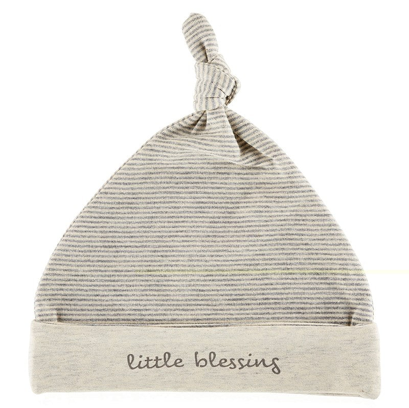 Baby-Knit Hat-Cream-Grey-Little Blessing