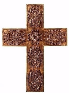 "Wall Cross-Gold Leafed (17"")"