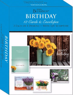 Card-Boxed-Shared Blessings-Birthday Flowers In A Vase (Box Of 12)
