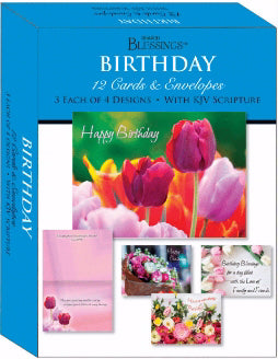 Card-Boxed-Shared Blessings-Birthday Beautiful Flowers (Box Of 12)