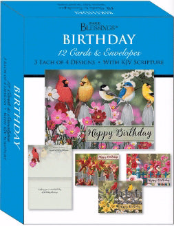 Card-Boxed-Shared Blessings-Birthday Birds (Box Of 12)