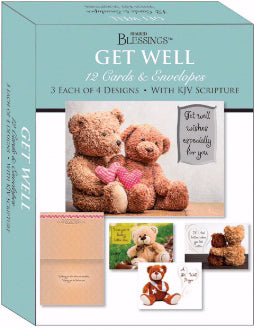 Card-Boxed-Shared Blessings-Get Well Teddy Bears (Box Of 12)