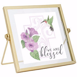"Plaque-Blessed w-Hummingbird & Gold Frame-Tabletop (6"" x 6"")"