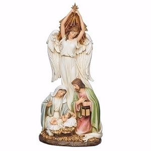 "Figurine-Angel Holding Star Over Holy Family (14"")"