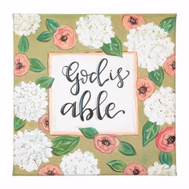 "Canvas Sign-Simple Inspirations-God Is Able (12"" x 12"")"
