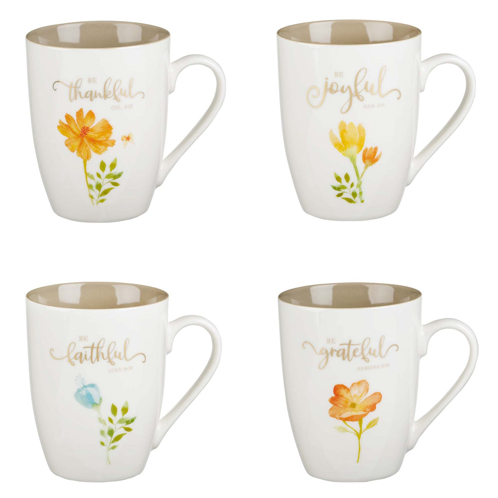 Mug Set-Grateful Floral (Set Of 4)