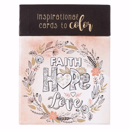 Coloring Cards Faith Hope Love (Box Of 44)