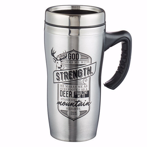 Travel Mug-Strength w-Handle (Stainless-Brown)
