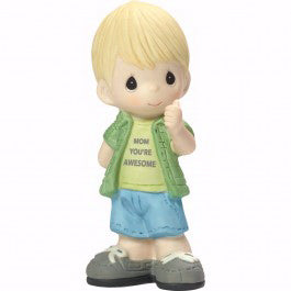 "Figurine-Mom  You're Awesome-Boy-Bisque Porcelain (5"")"
