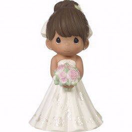 "Figurine-Bride Wedding Cake Topper-Brown Hair  Medium Skin Tone (5"")-Bisque Porcelain"