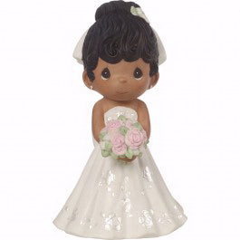 "Figurine-Bride Wedding Cake Topper-Black Hair  Dark Skin Tone (5"")-Bisque Porcelain"