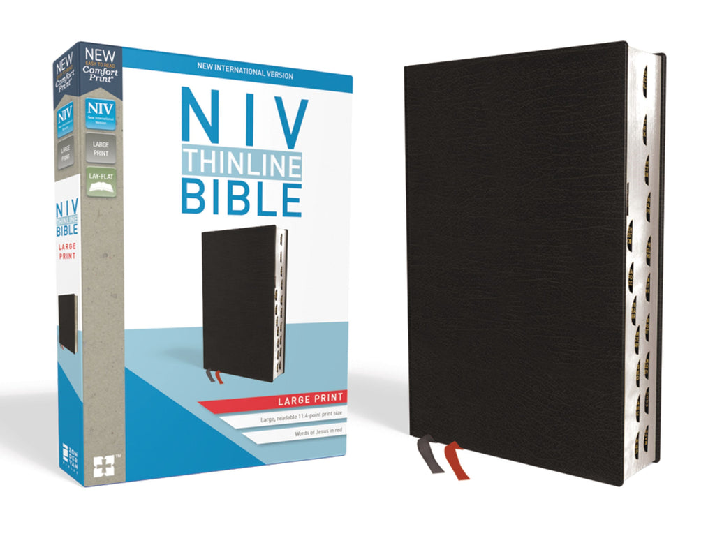 NIV Thinline Bible-Large Print (Comfort Print)-Black Bonded Leather Indexed