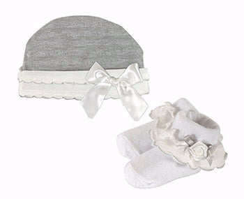 Shimmer Cap & Sock Set-Gray w-Cream Ruffle & Silver Accents (0-6 Mo)