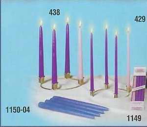 "Candle-Advent Wreath Refill-10"" x 7-8"" Tiny Tapers (6 Purple & 2 Rose)"