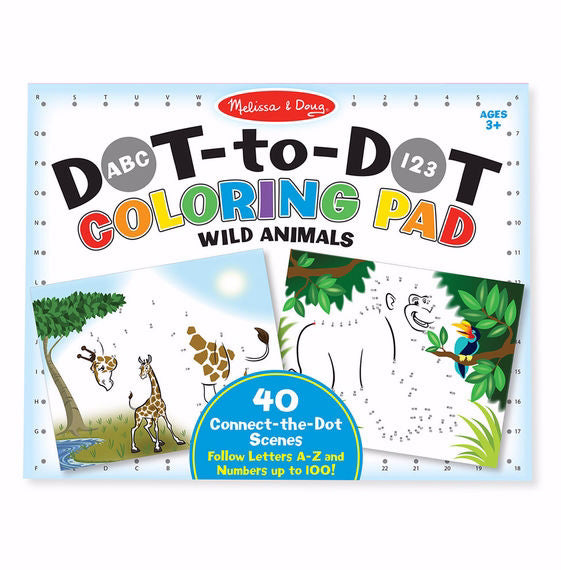 Coloring Pad: ABC 123 Dot-To-Dot Wild Animals (Ages 3+)