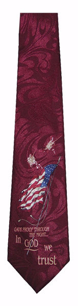 Tie-In God We Trust-Polyester-Burgundy
