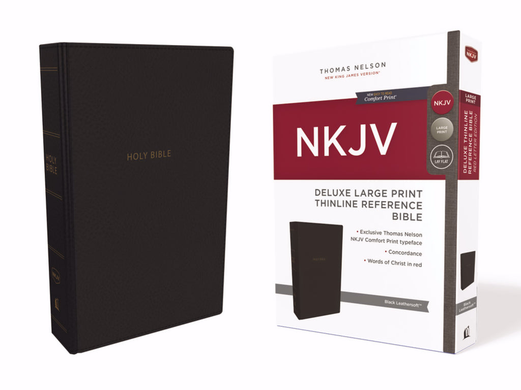 NKJV Deluxe Large Print Thinline Reference Bible (Comfort Print)-Black Leathersoft