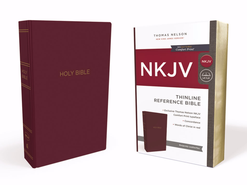 NKJV Thinline Reference Bible (Comfort Print)-Burgundy Leather-Look